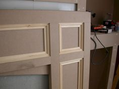 Cover the 80's brick fireplace with MDF and a mantel. Updated ...