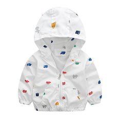 Autumn Winter Baby Boy Car Print Jackets Hooded Softshell Jacket For Boys Kids Coat Children Clothes #Affiliate
