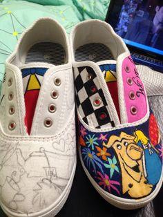 Painted shoes Shoe Painting, Shoe Designs, Painted Shoes, Cute Shoes, Designer Shoes, Vans, Slip On, Sneakers, Diy