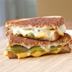 Jalapeño Popper Grilled Cheese   Mix 2 tbsp and jalapenos on one side of bread and cheese on other slice  (make like normal grilled cheese)