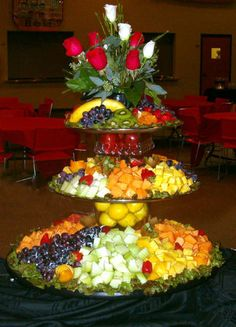 with two tiers of flowers and a