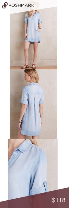 """Anthropologie Washed Chambray Popover Details: Size: L. Brand new with tags. Sold out style. Highly rated, 5 star reviews.  Lyocell Side pockets Pullover Styling Machine wash Imported Style No. 4130259839225 Dimensions 33""""L Anthropologie Dresses"""