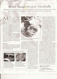 Takes a long time. Sauce and Meatball recipe. Page 1.