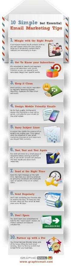 10 Simple Email Marketing Tips. #emailmarketing #infographic #marketingonline