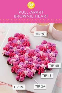 Forget the box of candies—give your sweetie a treat they'll love to eat with this Pull-Apart Brownie Heart. Fondant Flower Cake, Fondant Rose, Cupcake Cakes, Fondant Baby, 3d Cakes, Brownie Toppings, Brownie Cake, Cake Brownies, Brownie Recipes