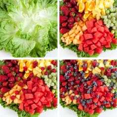 Fruit Platter Assembly -- cover base with green leaf lettuce, choose a rainbow of colored fruit, sprinkle small berries on top that have been rolled in sugar. Party Trays, Party Platters, Food Platters, Party Buffet, Veggie Cheese, Veggie Tray, Veggie Plate, Catering Display, Catering Food