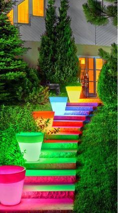 "Great colors for a fun backyard!!  ""Soft Glow"" illuminated planters (from PP Plastic Products)...they have then in white too!"