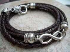 Leather Bracelet Infinity Bracelet Toggle by UrbanSurvivalGearUSA, $23.99