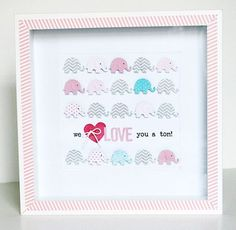 Baby's Room elephant framed artwork by Jaclyn Rench using Bella Blvd Baby Boy and Kiss Me collections.