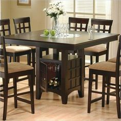 9pc Counter Height Storage Dining Table w/Lazy Susan and Chair Set - The good look of the kitchen also depends on the furniture that it has. Table is actually the main furniture that you will surely look after entering into a kitchen Dining Table With Storage, Counter Height Dining Table, Square Dining Tables, Dining Table In Kitchen, Bar Tables, Bar Chairs, Bar Stools, Side Chairs, High Dining Table Set