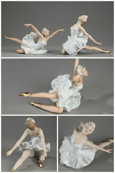 1960's porcelain figurines in Wallendorf porcelain (Germany), featuring two ballet dancers. Marked underneath with a W under a crown and the year 1764. 400€
