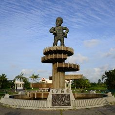 The 1763 Monument, built in recognition of the leader named Cuffy of the 1763 Slave Rebellion.