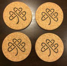 Celtic Knot Shamrock Irish Coasters Wood by DesignsByRebeccaLynn
