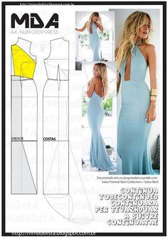 Mod@ en Line Fashion Sewing, Diy Fashion, Ideias Fashion, Fashion Dresses, Dress Sewing Patterns, Clothing Patterns, Pattern Dress, Diy Clothing, Sewing Clothes