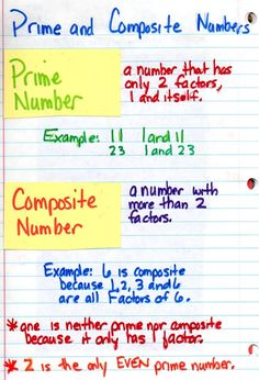Prime and composite notebook math