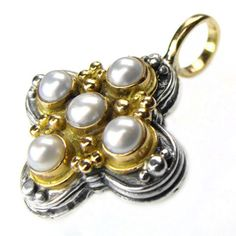 Gerochristo 5358 ~ Solid Gold, Silver & Pearls Byzantine-Medieval Cross Pendant