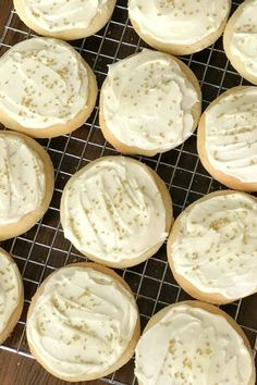 These Sour Cream Cookies are moist, fluffy and simply the best cut out cookies with homemade icing and gold sprinkles on a cooling rack Sour Cream Sugar Cookies, Cookies And Cream, Baking Recipes, Cookie Recipes, Dessert Recipes, Baking Ideas, Christmas Baking, Christmas Cookies, Christmas Punch