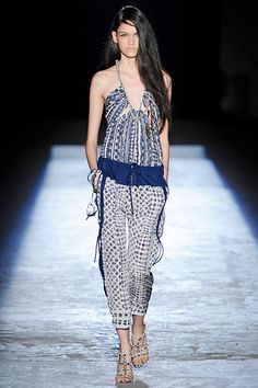 Edun Spring 2012 collection. Sexy and comfortable looking halter jumper in a navy print.