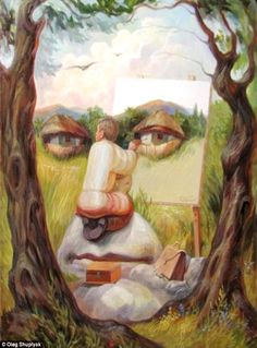 """Back at ya"" - Optical Illusion oil painting by Oleg Shuplyak (Ukraine, b.1967)  Mr Shuplyak gives himself the special treatment"