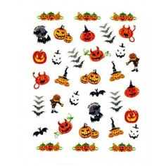 $3.50 Halloween Nail Decal - Approximately 30 fun nail decals in bright vibrant colors
