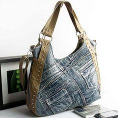 Models of old jeans DIY Bag and Purse Diy Jeans, Diy Sac, Denim Handbags, Diy Bags Purses, Denim Purse, Diy Handbag, Boho Bags, Recycled Denim, Fabric Bags
