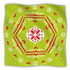 "KESS InHouse Snowjoy by Miranda Mol Fleece Throw Blanket Size: 40"" H x 30"" W x 1"" D, Color: Green/Red"