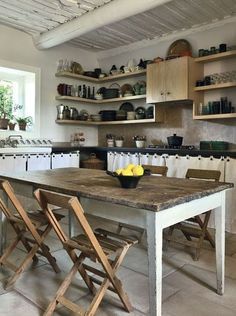Constructing Kitchens with open shelves and cabinet curtains conserves on hardwood.  Our world needs every tree possible to be kept alive and absorbing CO2