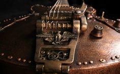 Steampunk Semihollow guitar with a Tonerider pickup Steampunk Guitar, Industrial Goth, Music Crafts, Cool Guitar, Dieselpunk, Violin, Metal, Machine Age, Guitar