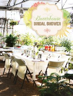Charming Greenhouse Bridal Shower Ideas: bubbly bar, cucumber water, seed packet favors, lace tablecloth, birdhouse, edible plant desserts and mason jars!