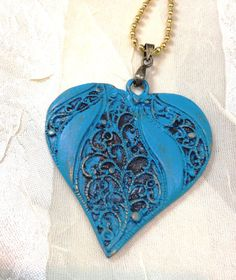 Lacy Metal Heart Necklace Blue Patina by NorthCoastCottage on Etsy