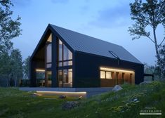 House with attic in modern style with usable area Minimum size of a plot needed for building a house is m. Barn House Design, Modern Barn House, Barn House Plans, Timber House, Modern House Design, House Cladding, Facade House, Black House Exterior, Modern Farmhouse Exterior