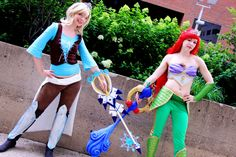 Kingdom Hearts Cinderella and Ariel by Evie-E on DeviantArt Kingdom Hearts Cosplay, Ariel Cosplay, Creative Costumes, Red Sonja, People Dress, Best Cosplay, Evie, Art Auction, Catwoman