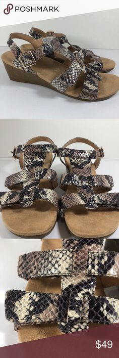 "Vionic Glenda Snakeskin T Strap Leather Sandal Vionic Glenda Wedge Sandal Sz 8  Leather Snakeskin Pattern Gray and Tan Variegated  T Strap with Adjustable Straps Arch Support  Orthaheel Technology Very minimal wear - no footbed wear 2"" heel Vionic Shoes Sandals"