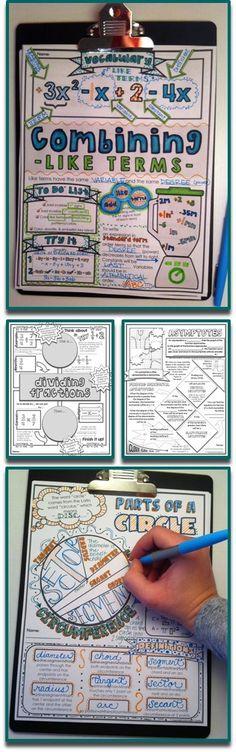 Brain-Based Doodle Notes for Education - Mathe Ideen 2020 Math Teacher, Math Classroom, Teaching Math, Teacher Tips, Teacher Stuff, Classroom Ideas, Math Resources, Math Activities, Math Games