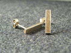 Rustic Silver Bar Drop Earrings  Long by CallumKiltsJewellery