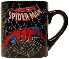 Silver Buffalo MC3232 Marvel Comics SpiderMan Swings Black Web Ceramic Mug 14 Ounces Black ** For more information, visit image link.Note:It is affiliate link to Amazon.