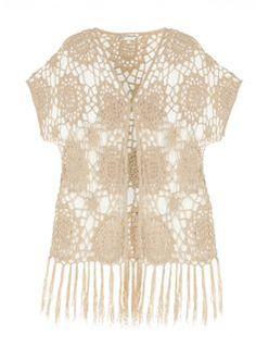 **Voulez Vouz Sand Crochet Fringe Kimono