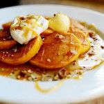 Pumpkin Pancakes with maple syrup and caramel sauce. Mmm, dessert for breakfast!