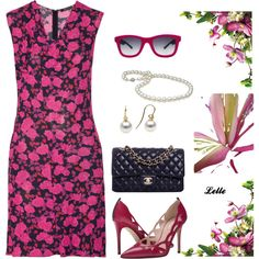 Nina Ricci Floral-print crepe de chine dress by lellelelle on Polyvore featuring Nina Ricci, SJP, Chanel and Italia Independent