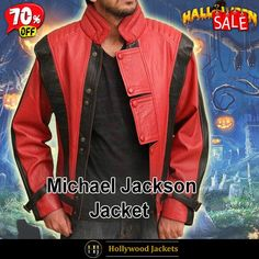 #Halloween Hot offer Get 70% #TvSeries Thriller Black Striped Design #MichaelJackson Red Leather Jacket. #HalloweenSale #Halloween #Sale #2021 #OOTD #Style #Cosplay #Costum #men #fashionstyle #women #jacket #shopnow #Clothes #leather #discountoffer #outfit #tvseris #onlineshopping #discount #buymypremium #celebrities #offers #fashion #movie