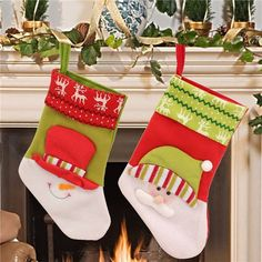 New Year Vintage Christmas Stocking Snowman Bag Gift Stockings Ornament Socks