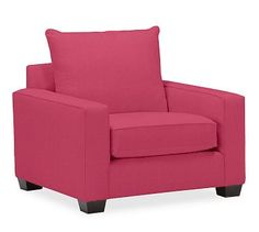 PB Comfort Square Arm Upholstered Grand Armchair, Knife Edge Down Blend Wrapped Cushions, Linen Blend Pink Magenta