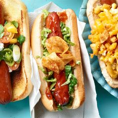 Our kickin' hot dogs will be the life of the party. Click ahead to recreate these delicious hot dog recipes. Our kickin' hot dogs will be the life of the party. Click ahead to recreate these delicious hot dog recipes. Dog Recipes, Side Recipes, Grilling Recipes, Cooking Recipes, Potato Recipes, Hot Dogs, Hot Dog Buns, Bbq Potatoes, Little Lunch