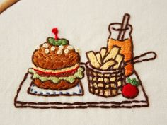 ハンバーガーの刺繍