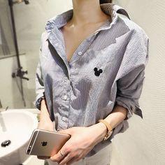 ストライプ柄ヒッコリーマウスワンポイント刺繍長袖シャツブラウス