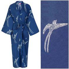 Back in stock! Susannah Cotton Kimono Robe. Dark blue Long Tailed Bird: 100% organic cotton.