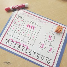 Roll, Write and Swipe dice worksheets for kindergarten math centers. reinforce number sense with dot patterns, ten frames, number bonds, number line and tally marks. I would even use this for guided math. Number Sense Kindergarten, Kindergarten Activities, Preschool, Patterning Kindergarten, Center Ideas For Kindergarten, Cardinality Kindergarten, Teaching Kindergarten Writing, Eureka Math, Math Numbers
