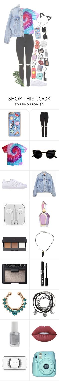 """Untitled #1 // ☁️✨"" by jenayedwards ❤ liked on Polyvore featuring Zero Gravity, Topshop, adidas Originals, Levi's, Polaroid, H&M, NARS Cosmetics, LORAC, Essie and Lime Crime"