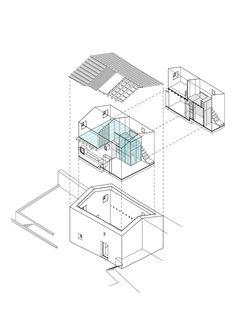 Axonometría. Casa Nogueiras por par-do. Señala encima de la imagen para verla más grande.