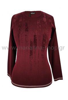Μπλούζα μπορντό με σχέδια Jumpers, Knitwear, Blouse, Long Sleeve, Sleeves, Sweaters, Shopping, Tops, Women